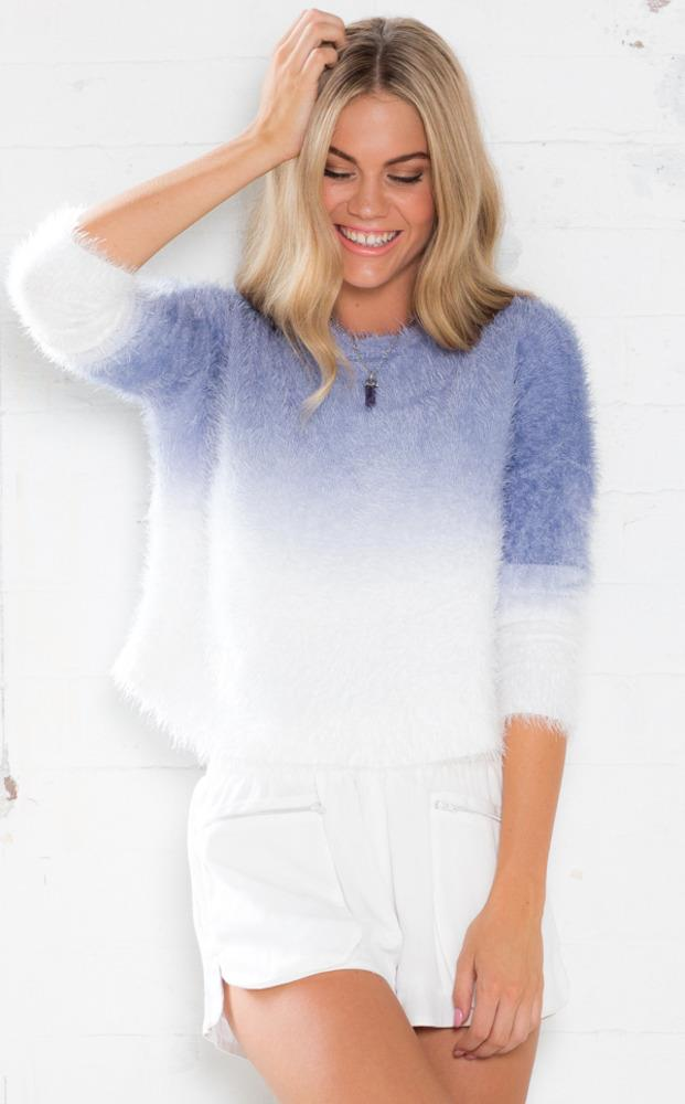 Showpo Changing Shades Sweater in Blue Ombre