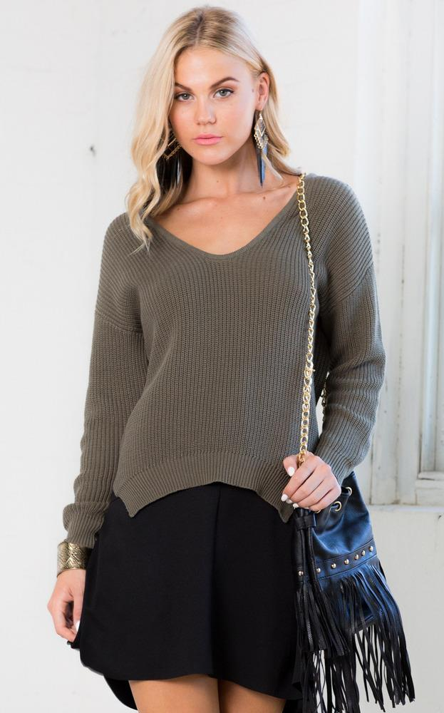 Showpo Swinger Sweater in Khaki