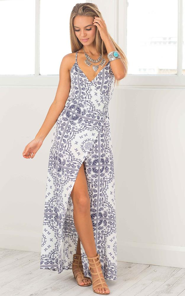 Showpo By The Sea maxi dress in navy print