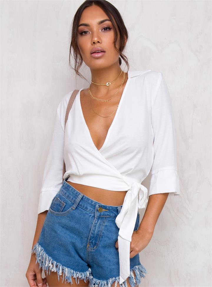 Women's Minkpink Sophia Wrap Shirt White
