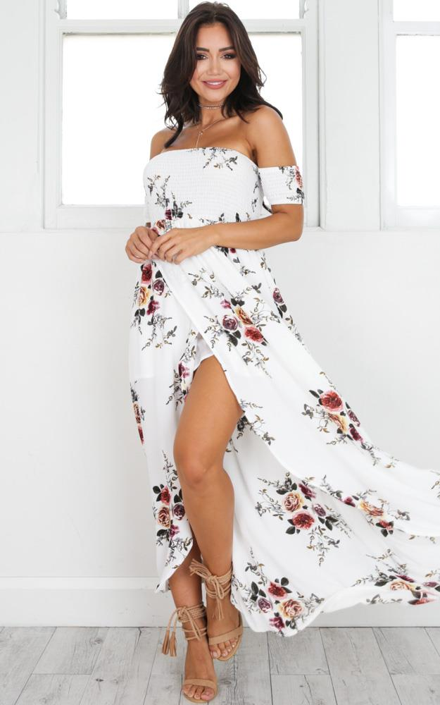 Showpo Lovestruck Maxi Dress in white floral