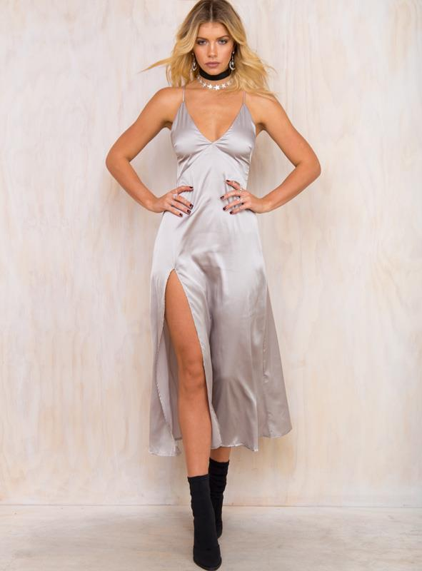 Women's Mother Of Pearl Maxi Dress Silver