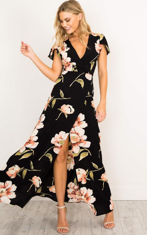 Showpo Feel The Burn maxi dress in black print