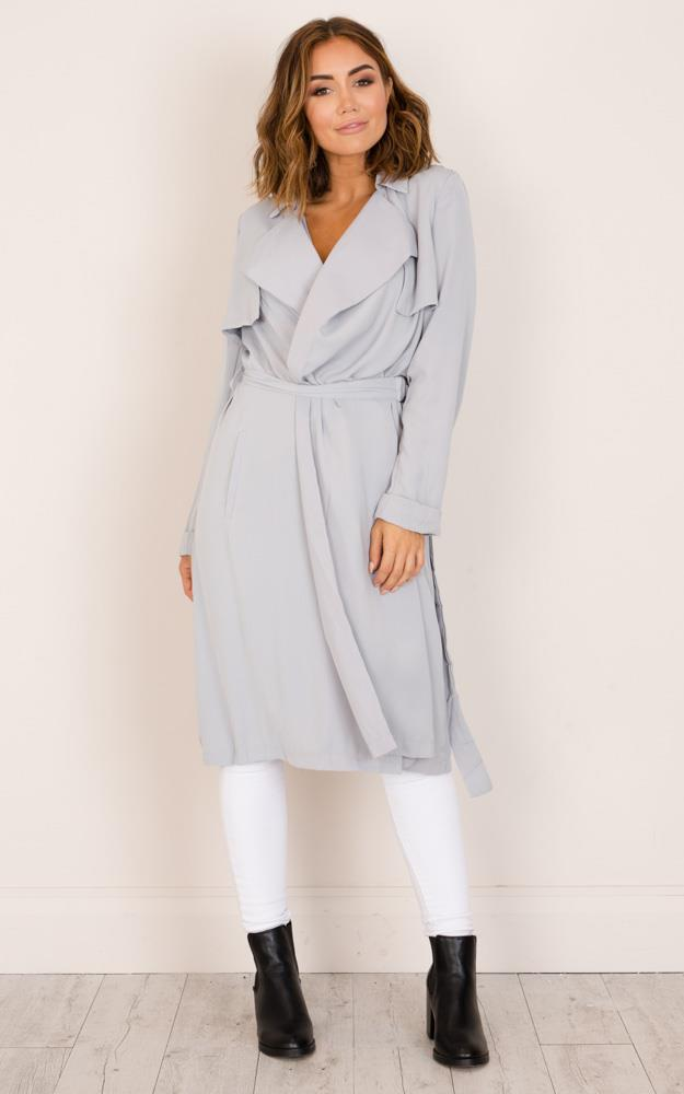 Showpo On And On trench coat in grey