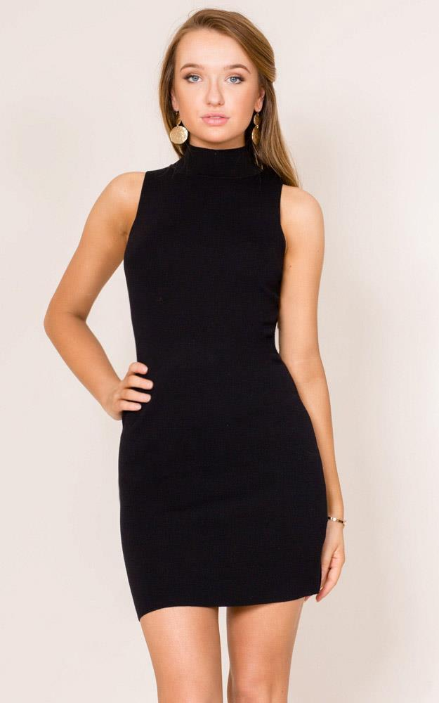 Showpo For Your Entertainment knit dress in black