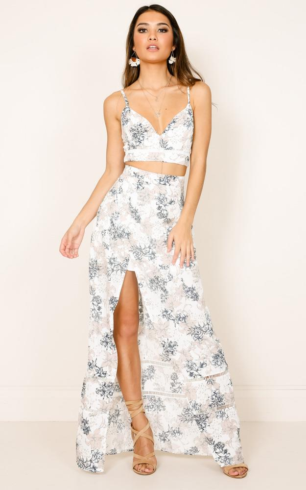 Showpo Downtown Double Two Piece Set in White Floral