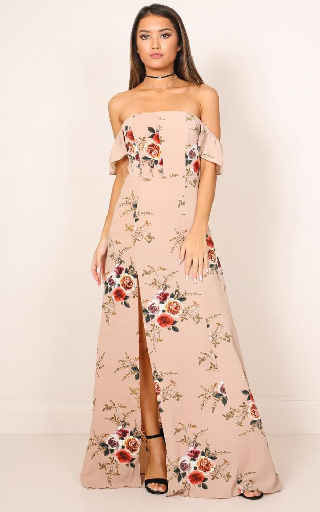 Showpo A Floral Affair Maxi Dress in mocha floral