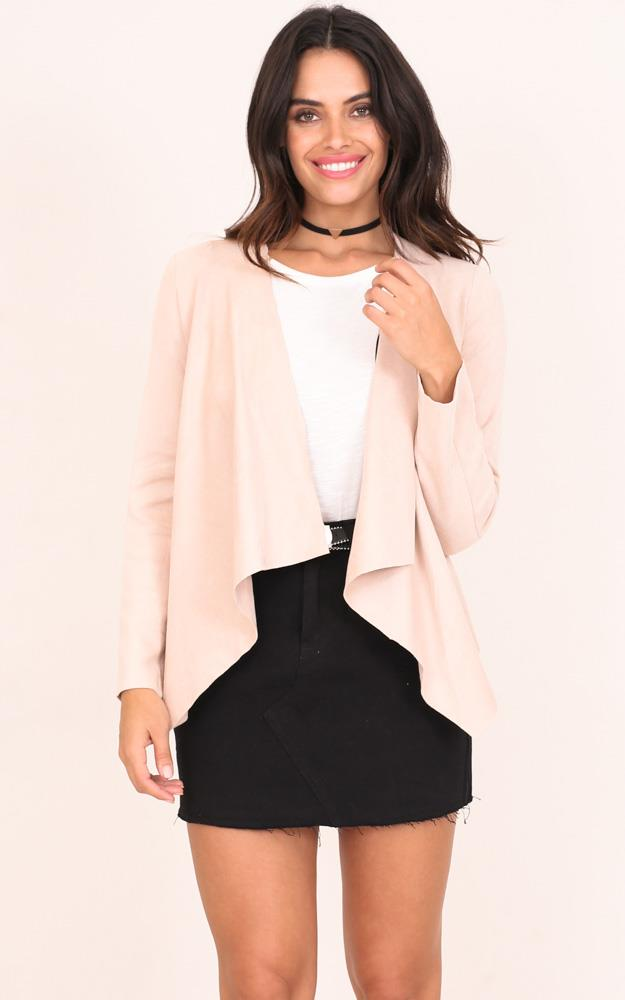 Showpo A New World jacket in blush suedette