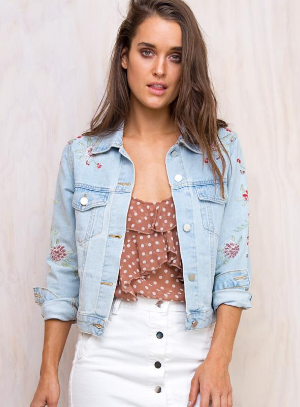 Women's Secret Garden Denim Jacket Pale Blue