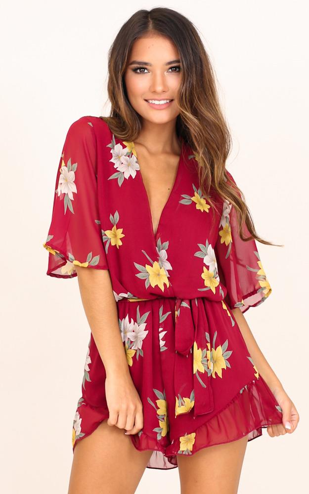 Showpo Someone Out There playsuit in wine floral