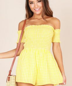 Showpo About The Weekend playsuit in yellow check