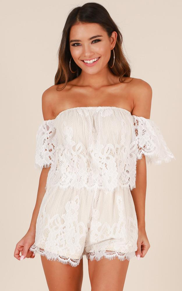 Showpo Love Bug Playsuit in white lace
