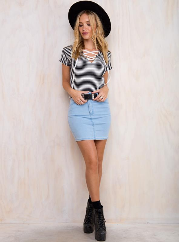 Women's Spaced Out Skirt Pale Blue