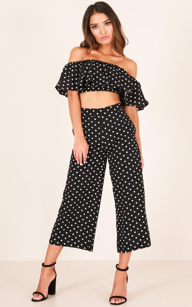 Showpo Turning Back Time two piece set in black print