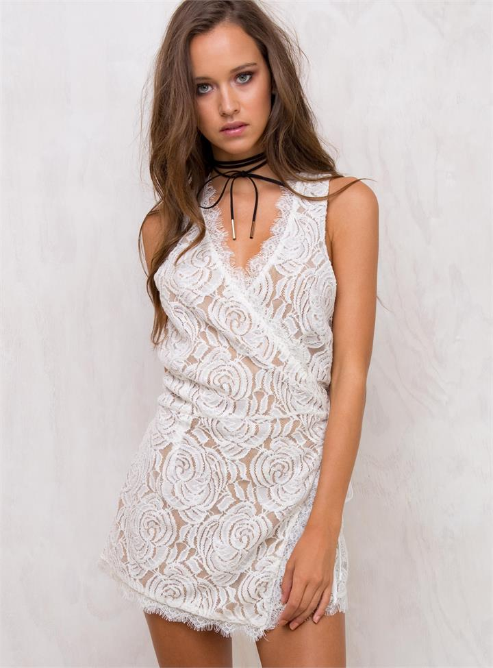 Women's Stella Lace Playsuit White/Nude
