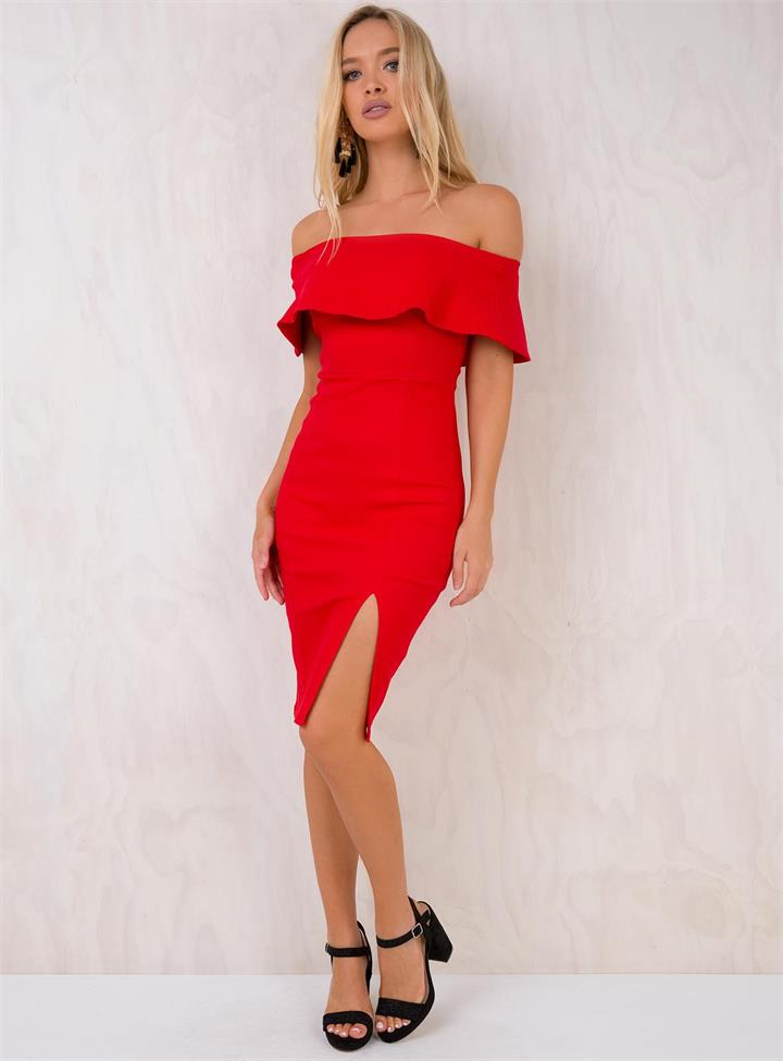 Women's Sweet Rose Off The Shoulder Midi Dress Red