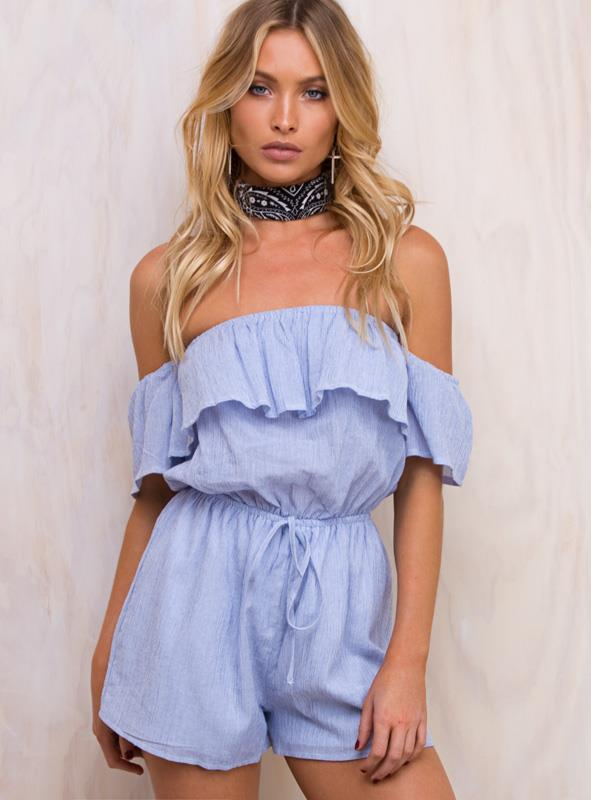 Women's Thousand Palms Off The Shoulder Romper White/Blue