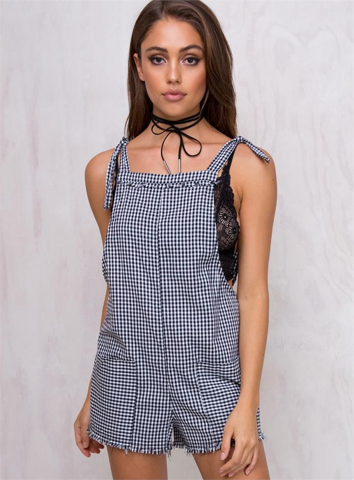 Women's With The Rodeo Tie Shoulder Playsuit Black/White