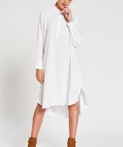 Boyfriend Shirt Dress in White