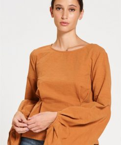 Alice Elevated Sleeve Top in Papaya