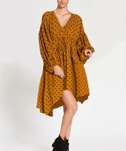 Billow Sleeve Dress in Polka