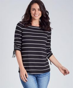 3/4 Ruched Sleeve Stripe Top