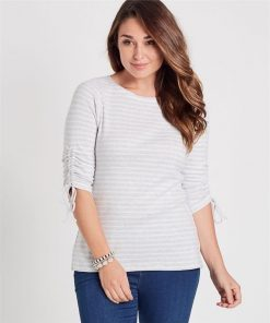 100% Cotton Ruched Sleeve Stripe Top