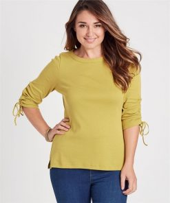 100% Australian Cotton Ruched Sleeve Top