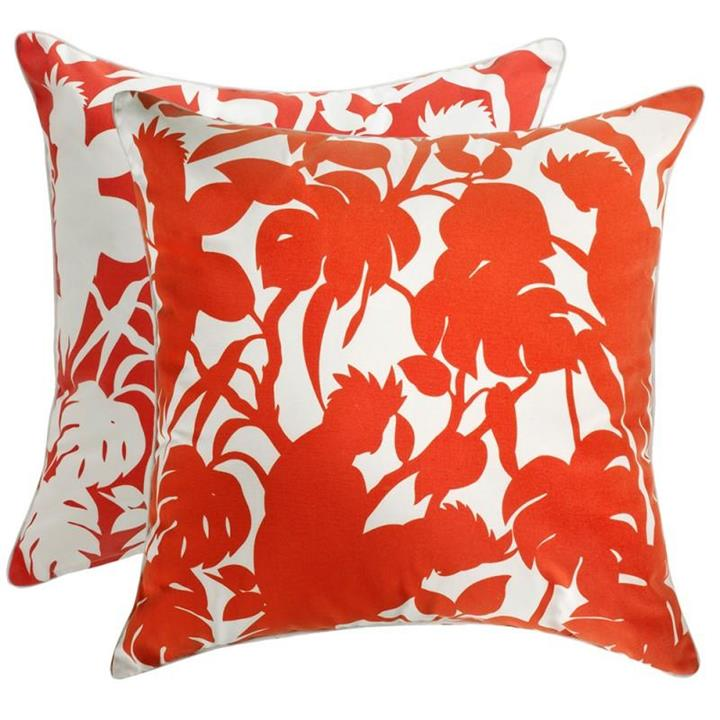 Florence Broadhurst Cockatoos Red Cushion Cover | Indoor/Outdoor