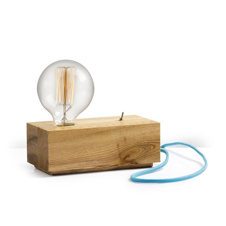 Wood Block Table Lamp |  Various Cable Colours