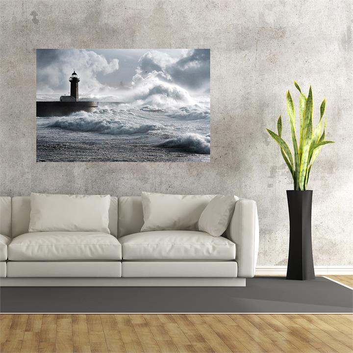 Storm Waves Over Lighthouse | Canvas Print