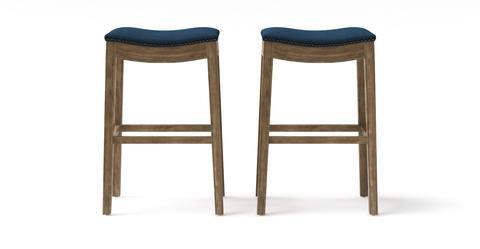 Hocker Set of 2 Bar Stools - Henry High 77.5 - Atlantic Blue with Wire Brushed Wax Legs