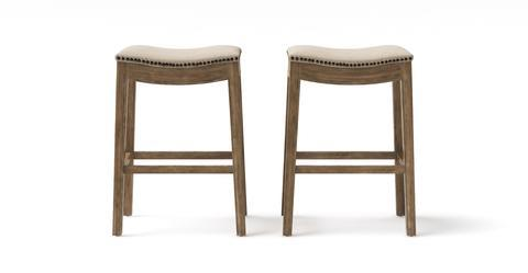 Hocker Set of 2 Bar Stools - Goldilocks 71.5 - French Beige with Wire Brushed Wax Legs