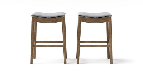 Hocker Set of 2 Bar Stools - Goldilocks 71.5 - Cloud Grey with Wire Brushed Wax Legs