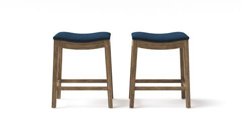 Hocker Set of 2 Bar Stools - Linda Low 62.5 - Atlantic Blue with Wire Brushed Wax Legs