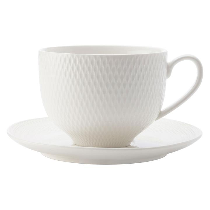 White Basics Diamonds Tea Cup & Saucer