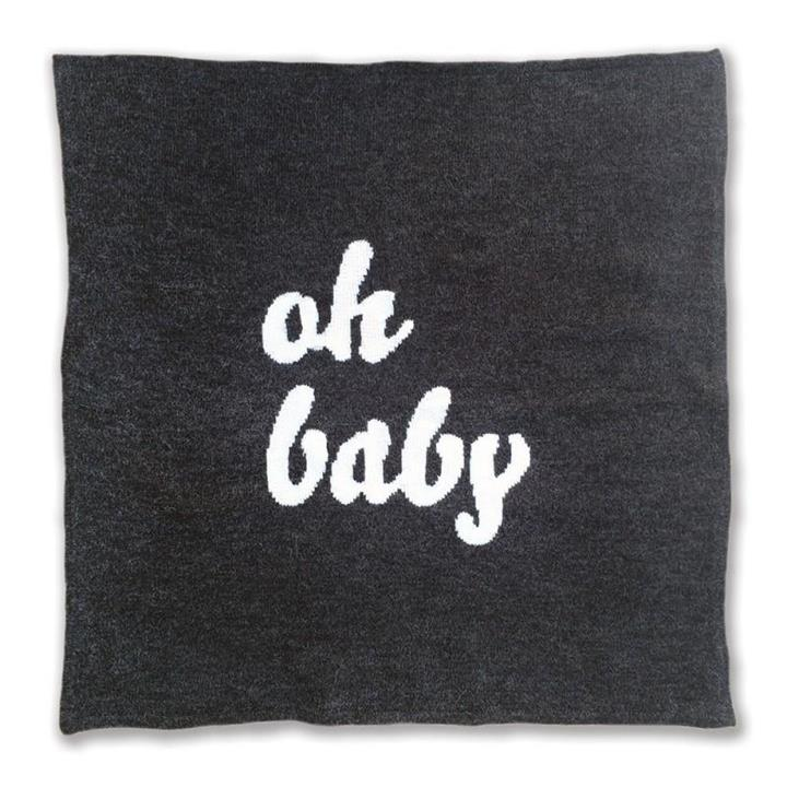 Knitted Oh Baby Blanket | Grey & Cream
