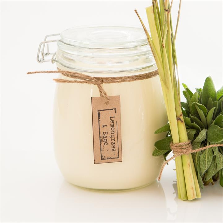 Lemongrass & Sage Soy Candle   Various Sizes