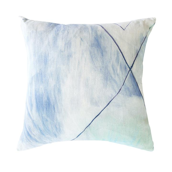 100% Linen Pale Blue Geometric Cushion | Cover only