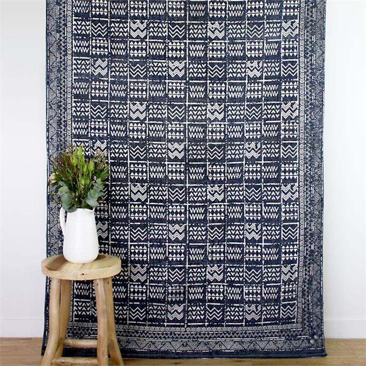 Tribal Indoor Outdoor Rug | Blue