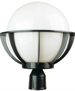 Post Top Cage Light Opal Sphere E27 32cm Olympus Oriel Lighting
