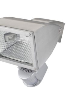 Halogen Flood Light w Sensor Adjustable in Satin Chrome 150W Wedge Pro-Tech