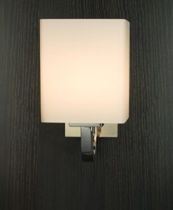 Viore Design Waltz Wall Lamp in Stainless Steel w Opal Matt Shade 18cm