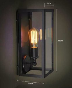 Wall Lamp Metal Black w Clear Shade E27 in 36cm