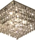 LED Pendant Close to Ceiling Square K9 Crystal G9 24 LEDs w Remote Saphire