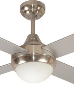Glendale Ceiling Fan w Light 120cm in Brushed Chrome Mercator