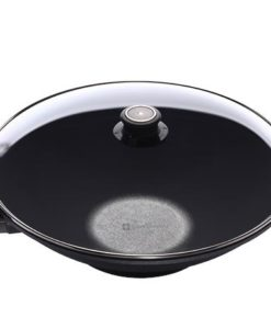 Swiss Diamond 36CM X 9.5CM Induction Wok with Glass Vented Lid