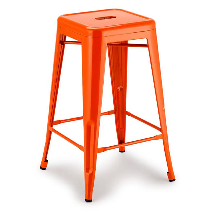 4x Orange 66cm Stool