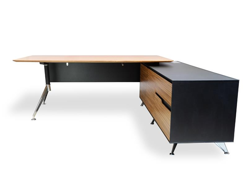 Excel 1.95m Executive Office Desk Right Return - Zebra Oak