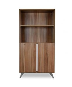 Excel  2 Door Office Cabinet with Bookshelf – Walnut